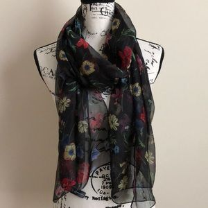 NWT INC Black Floral Scarf Wrap